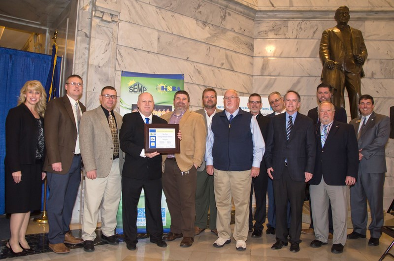 Accepting an energy award in Frankfort.
