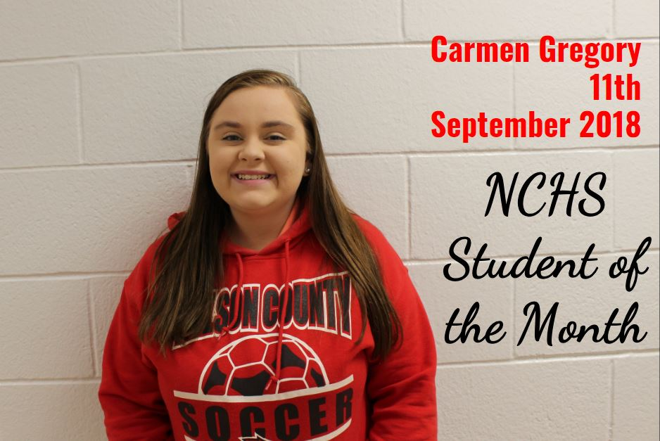 Carmen Gregory - 11th Grade - Student of the Month - September 2018