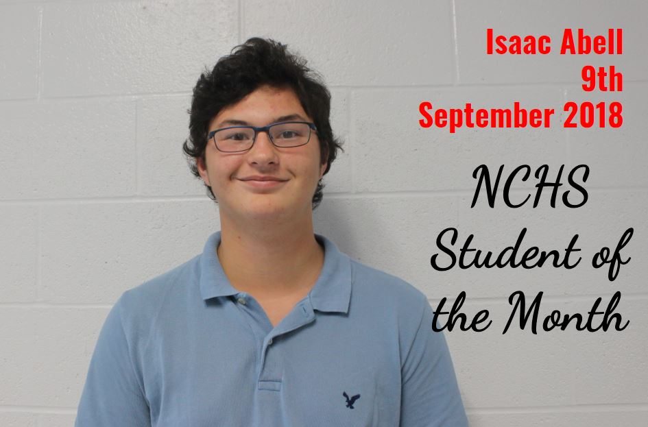 Isaac Abell - 9th Grade - Student of the Month - September 2018