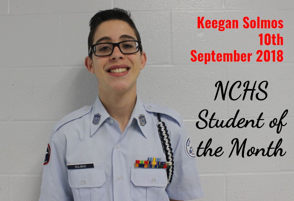 Keegan Solmos - 10th grade - Student of the Month - September 2018