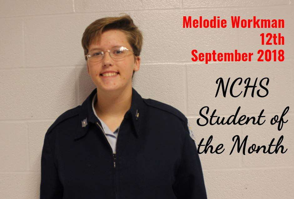 Melodie Workman - 12th grade - Student of the Month - September 2018