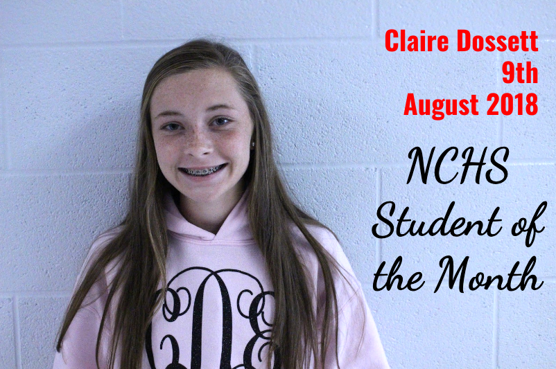 Claire Dossett - 9th Grade - Student of the Month