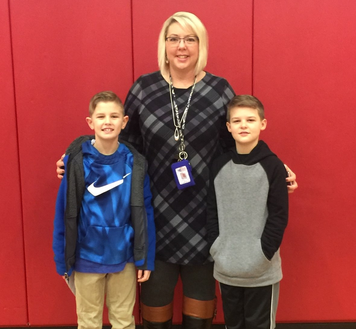Trey Sparrow BES Spelling Bee Champ with runner up Matt Combs and Principal Stephanie Smith