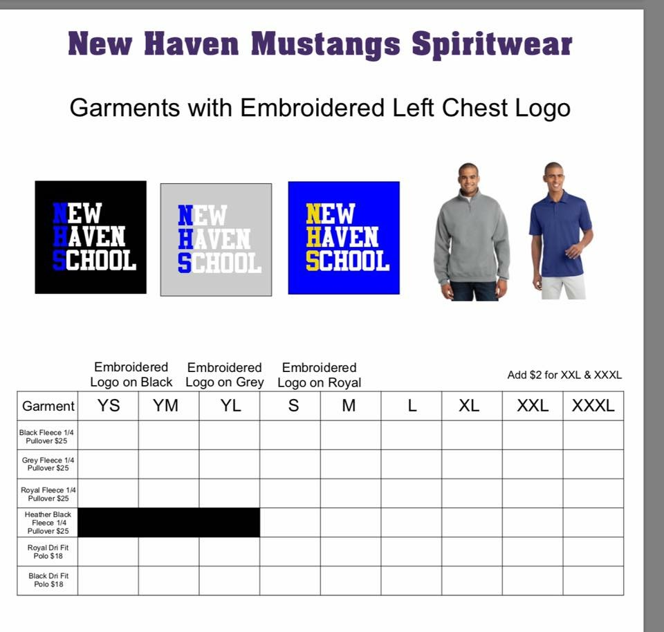 Polo and Pullover order form