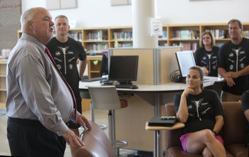 Brown greets TNHS staff
