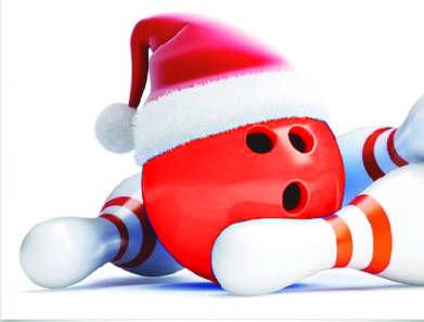 Bowling ball with Santa hat